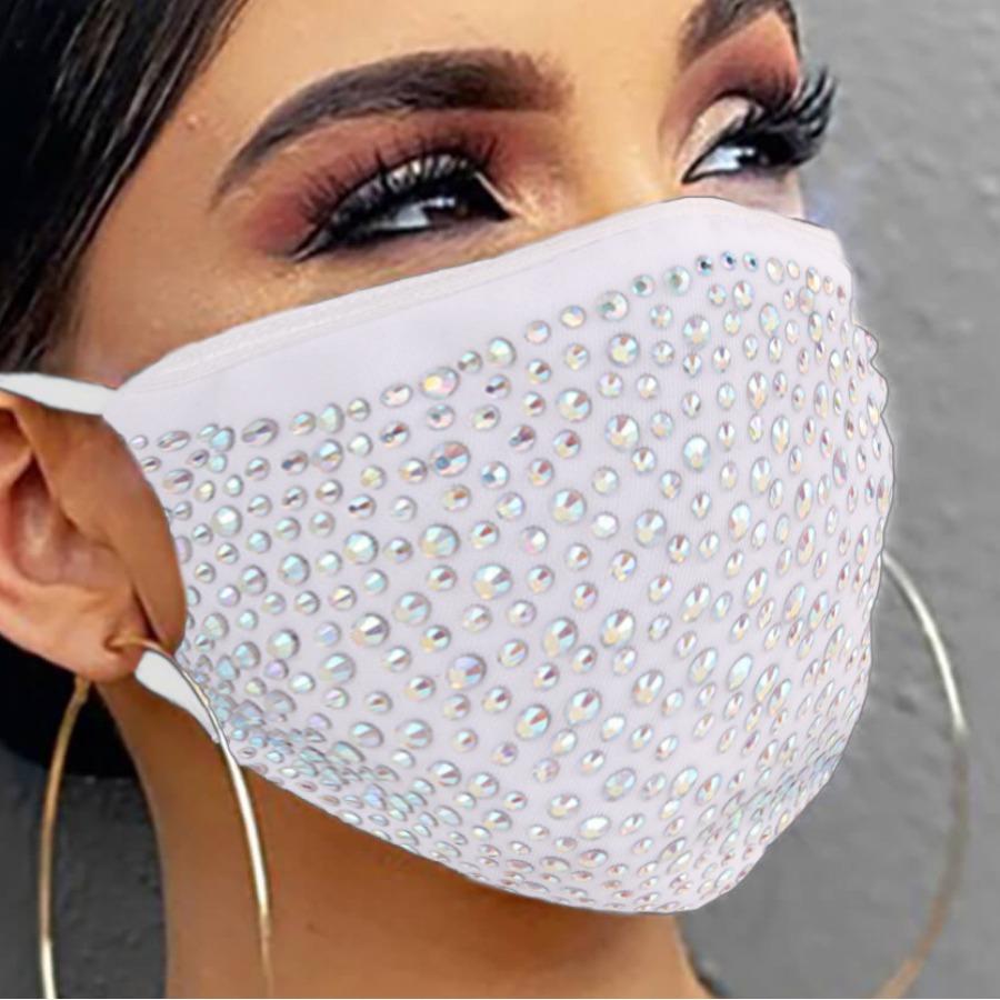 Lovely Casual Rhinestone White Face Mask
