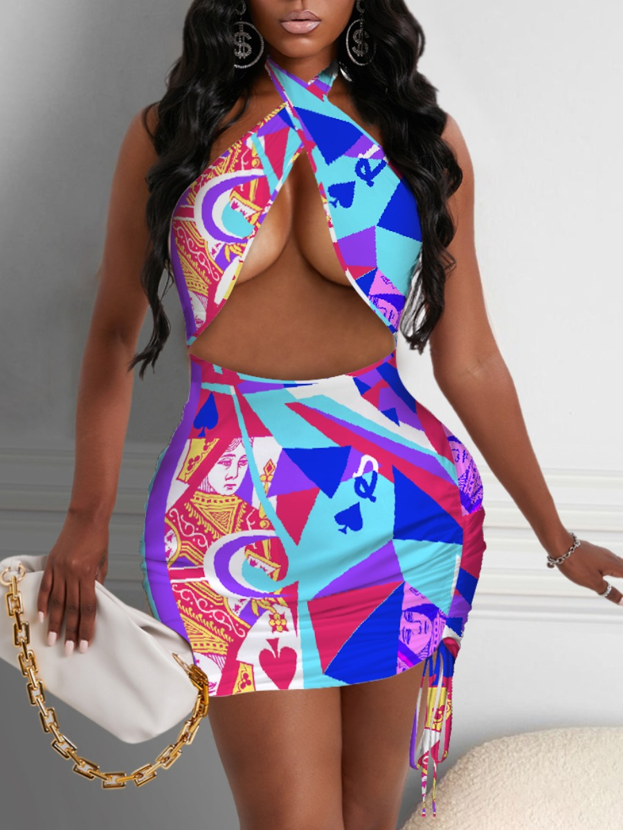 Lovely Sexy Geometric Print Hollow-out Drawstring Multicolor Mini Dress