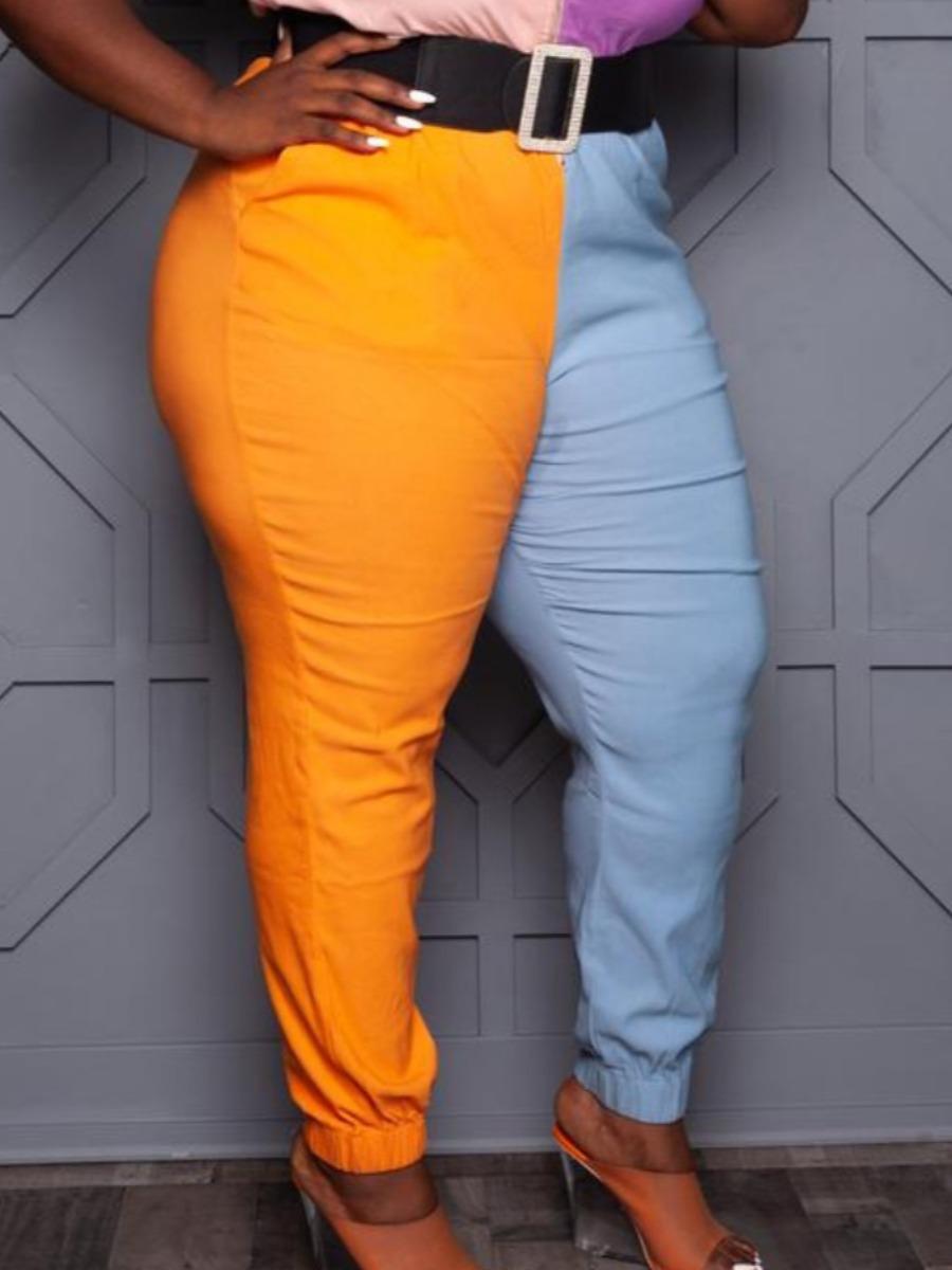LW Plus Size Casual Mid Waist Color-lump Croci Pants (Without Pants)