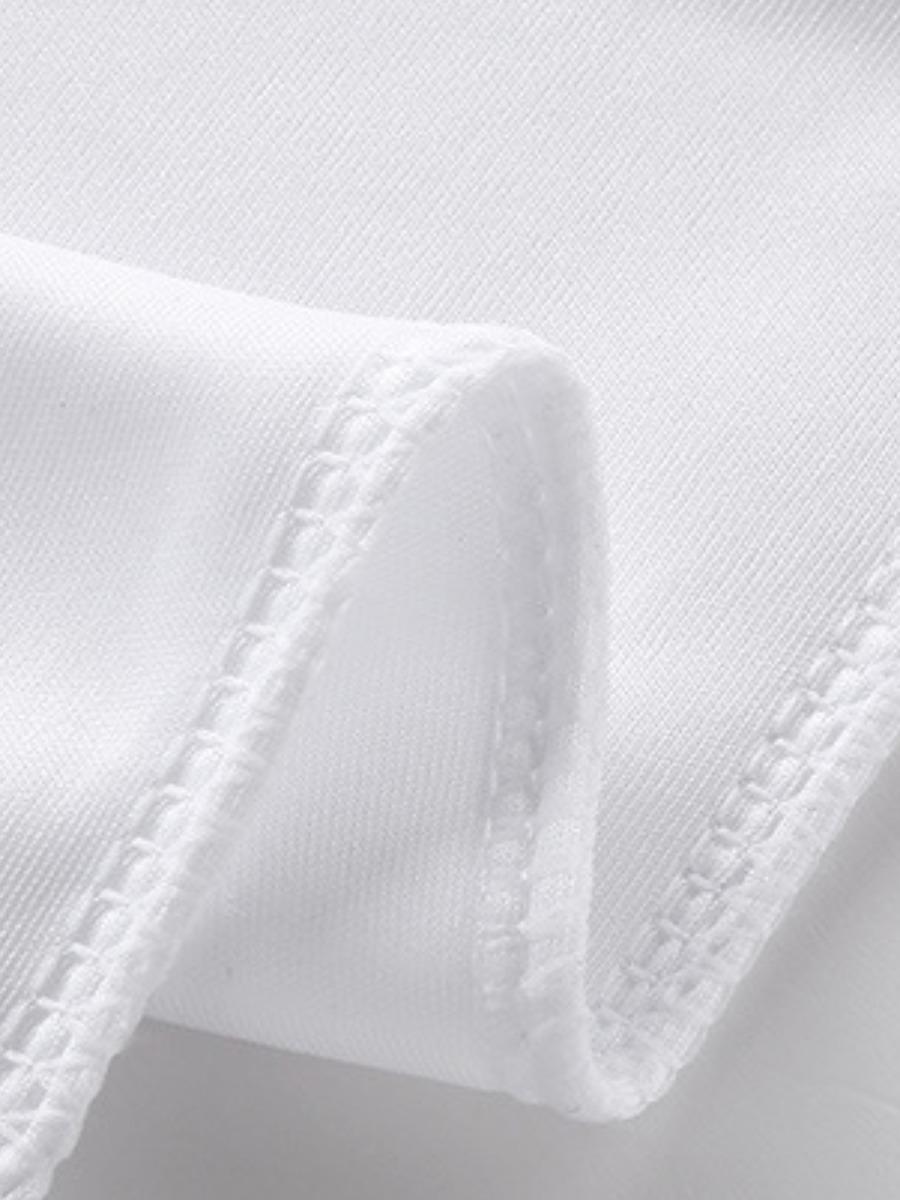 LW Men Casual Mandarin Collar Drawstring White Two Piece Shorts Set