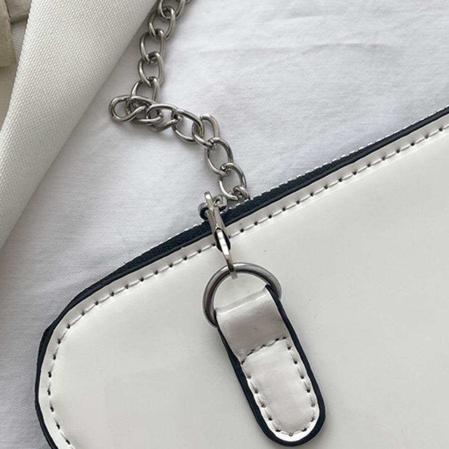 Lovely Casual Triangular Chain Strap White Crossbody Bag