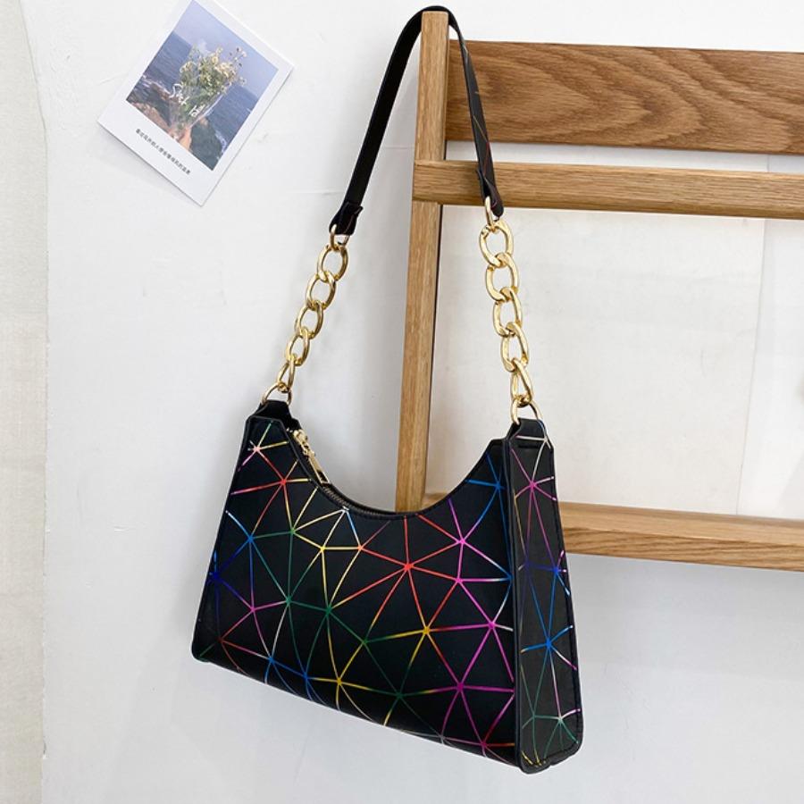LW Casual Geometric Print Black Shoulder Bag