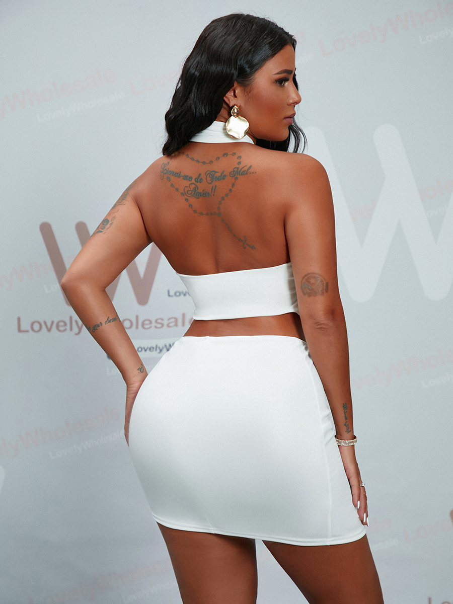 Lovely Sexy Cross-over Asymmetrical White Two Piece Skirt Set