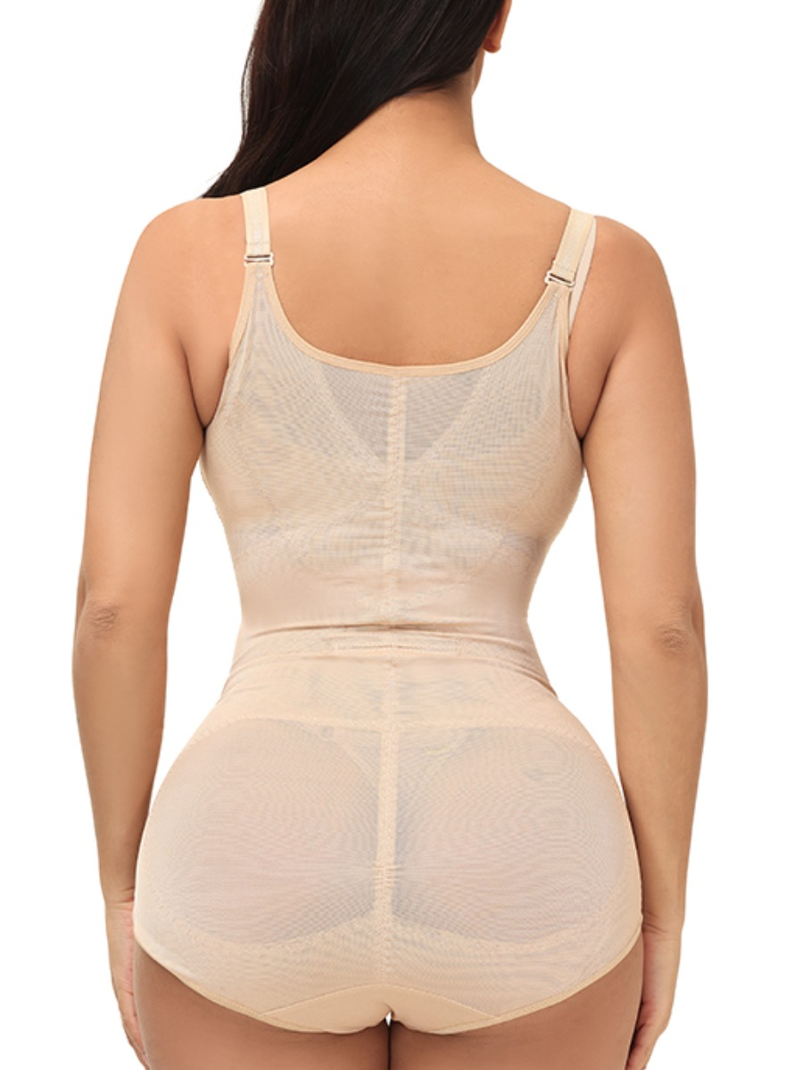 Lovely Casual Adjustable Strap Floral Decoration Apricot Shapewear