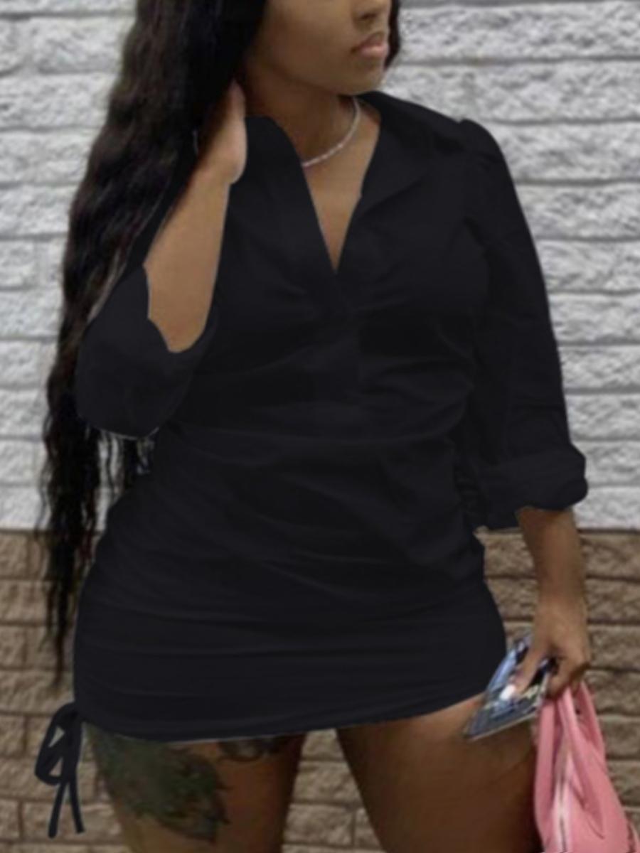Lovely Plus Size Casual Turndown Collar Drawstring Black Mini Dress