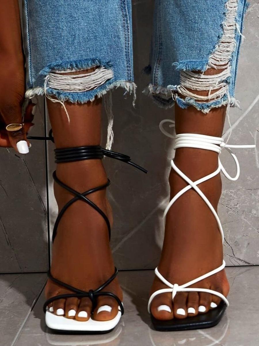 LW SXY Tie Leg Black And White Heels