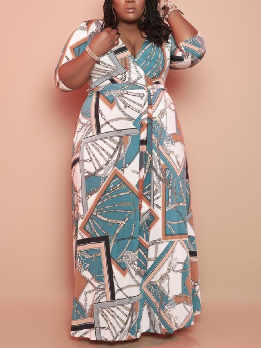 LW Plus Size Boho Geometric Print  Bandage Design Blue Floor Length Dress