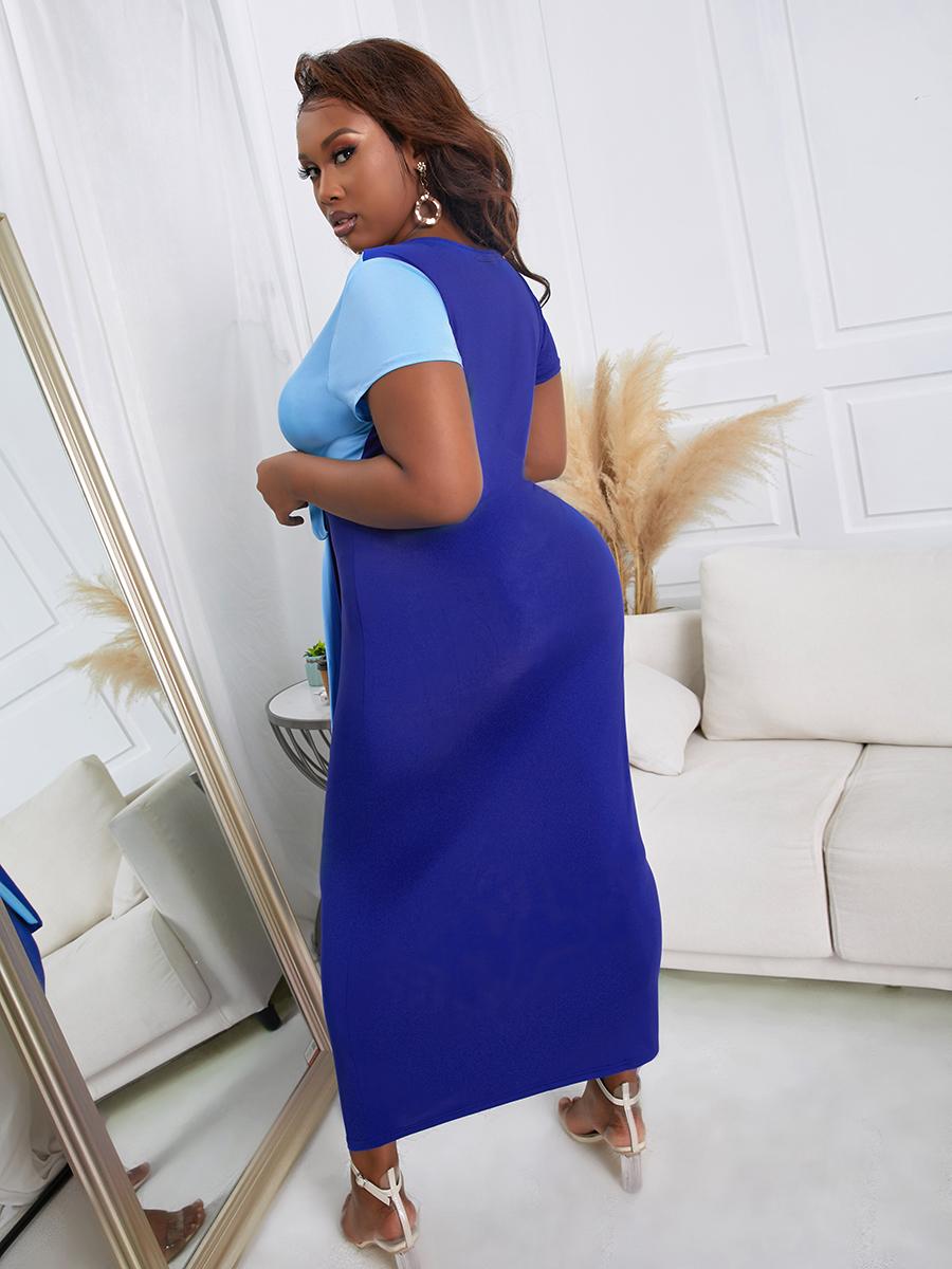 Lovely Plus Size Sweet Color-lump Bandage Design Blue Ankle Length Dress