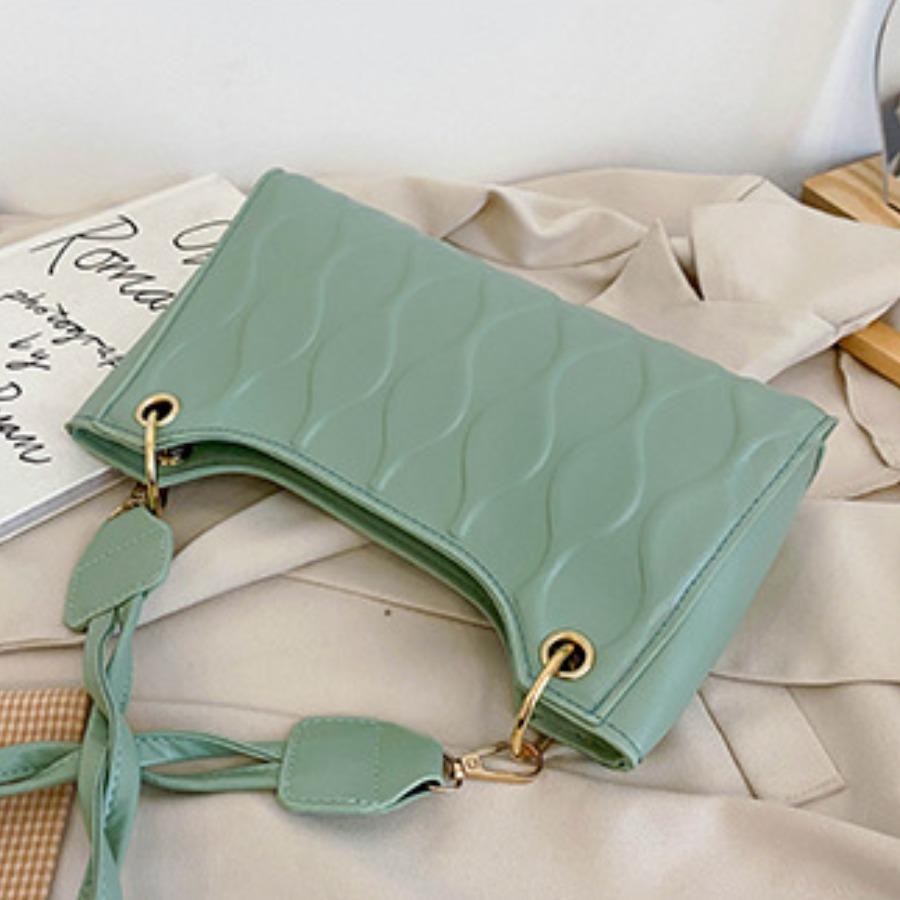 LW Casual Geometric Pattern Green Shoulder Bag