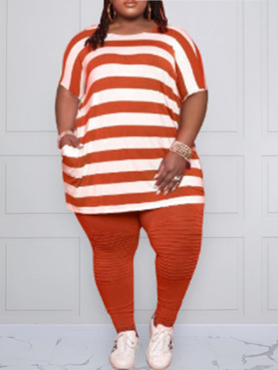 Lovely Plus Size Casual Round Neck Striped Croci Two-piece Pants Set