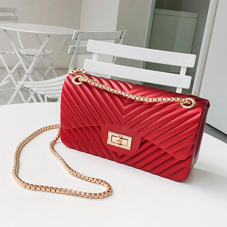 LW BASICS Casual Chain Strap Red Shoulder Bag