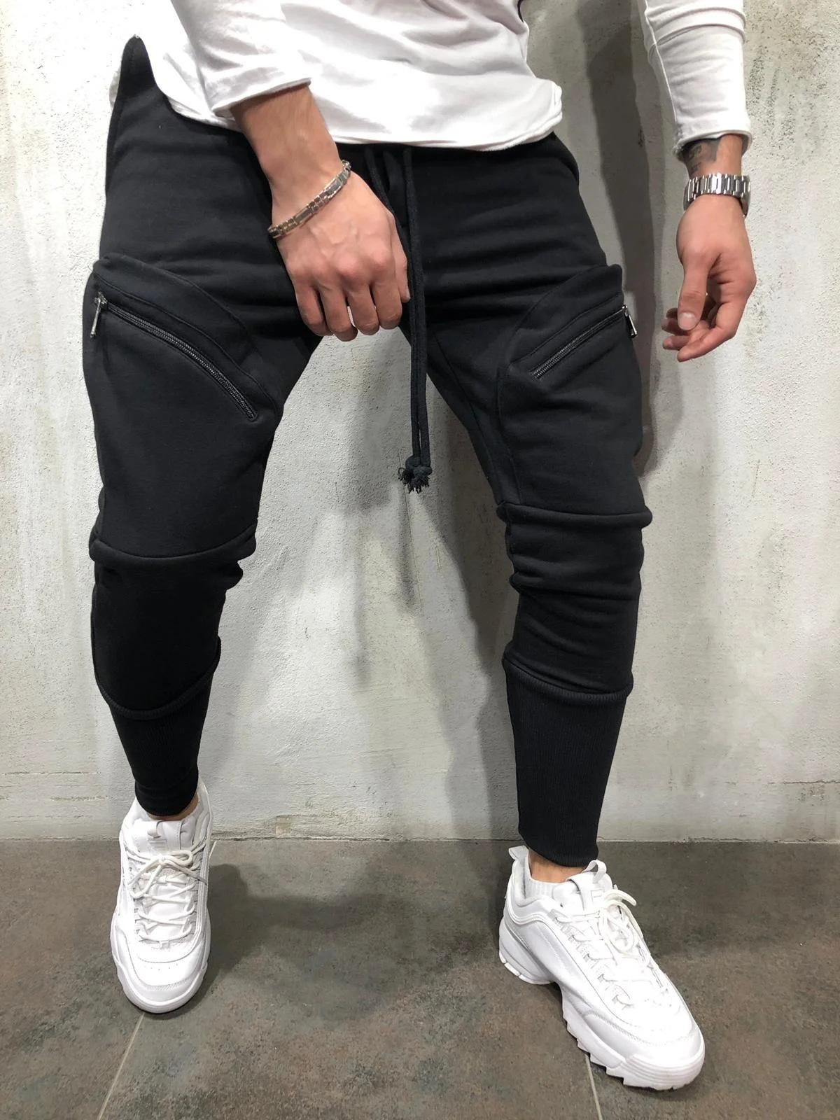 LW COTTON Men Casual Pocket Design Drawstring Black Pants
