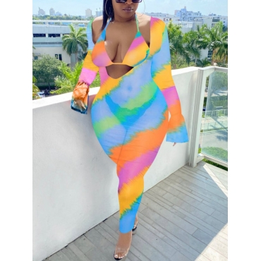 LW Plus Size Boho Striped See-through Multicolor One-piece Jumpsuit (With Bra)