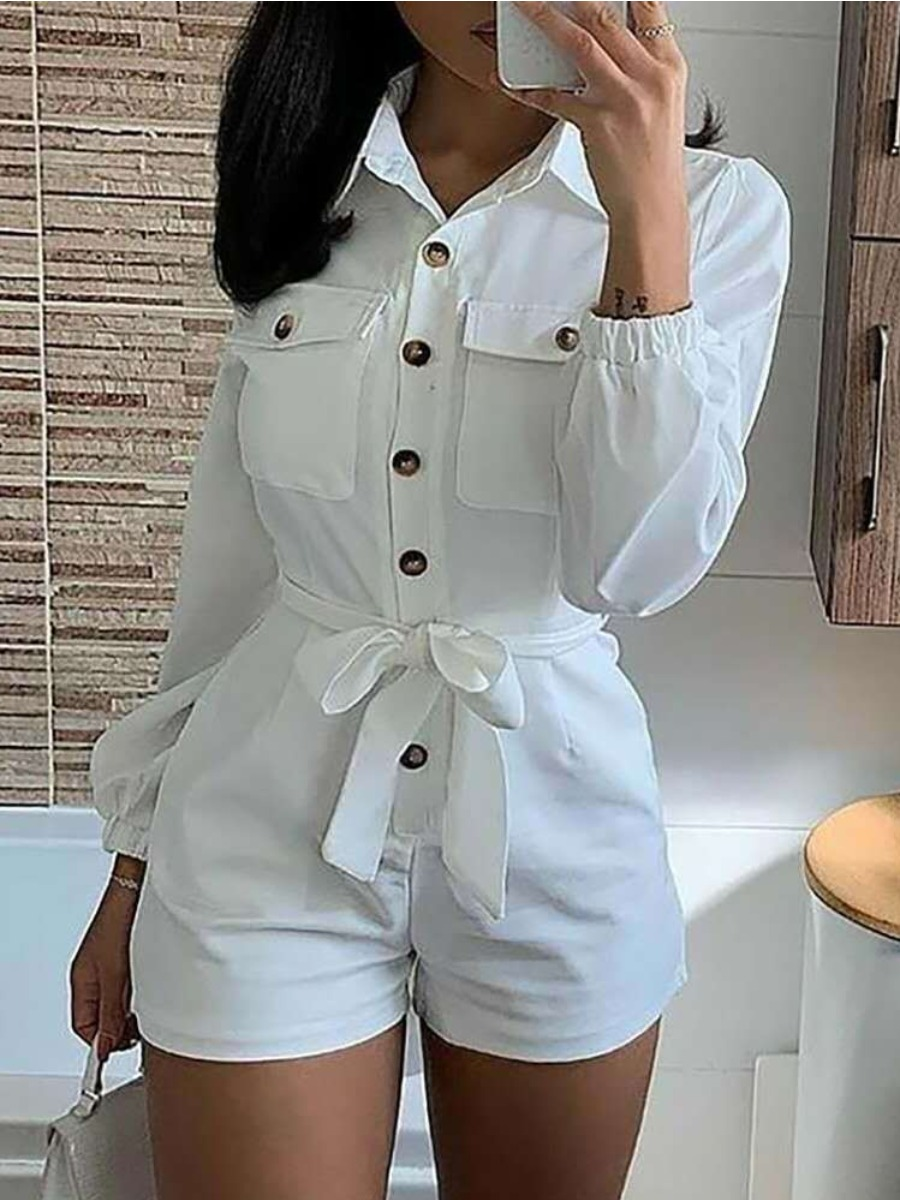 Lovely Street Button Bandage Design White One-piece Romper
