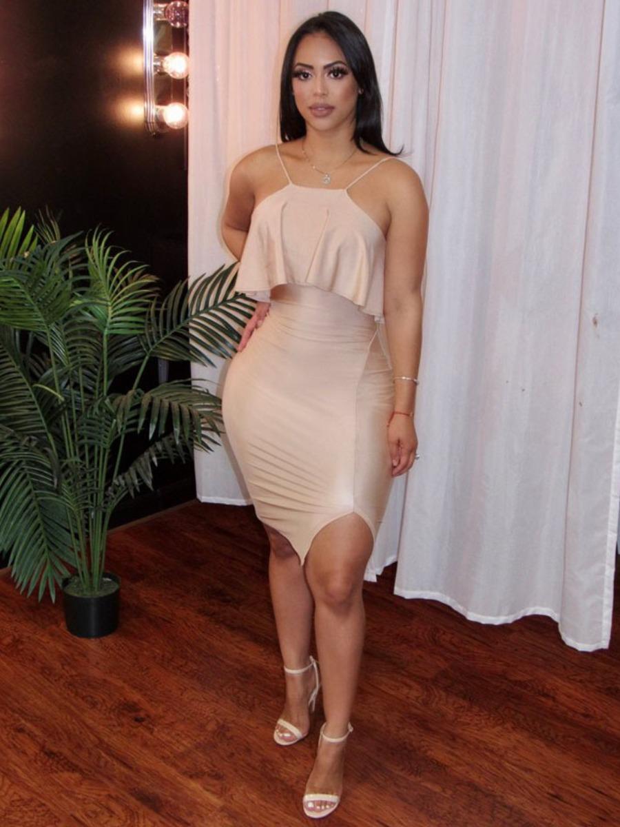 LW SXY Romantic Spaghetti Strap Slit Beige Mini Dress