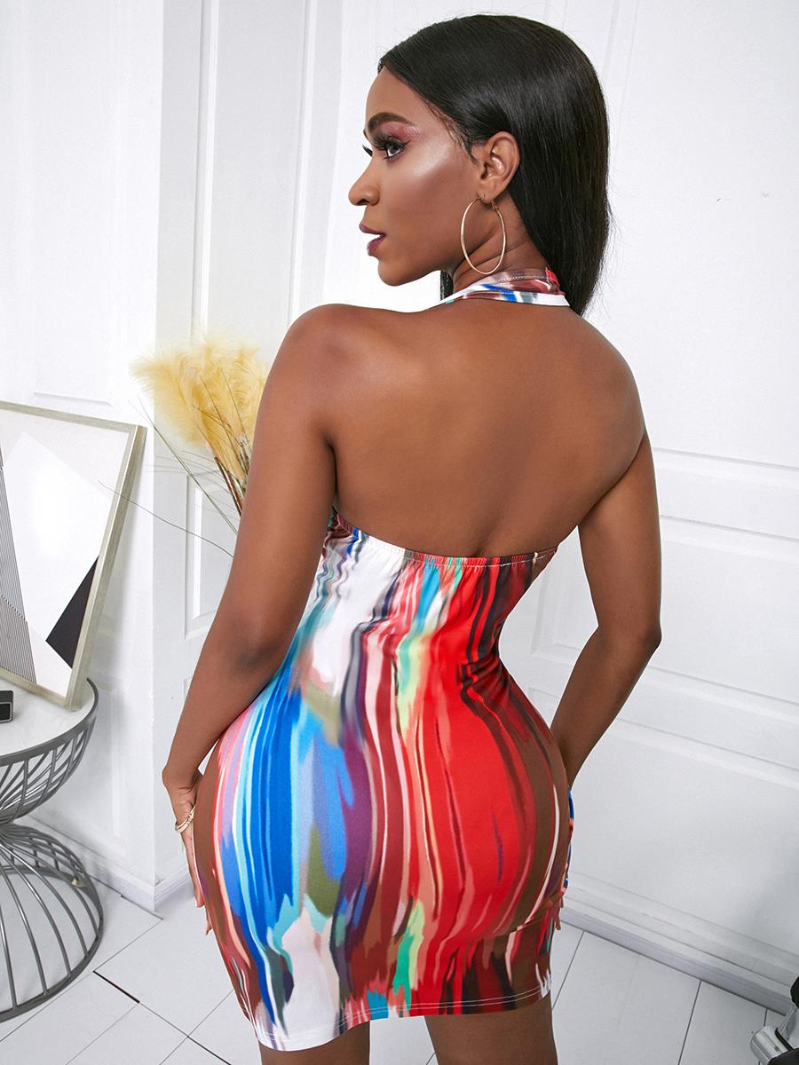 LW Sexy Off The Shoulder Tie-dye Multicolor Mini Dress
