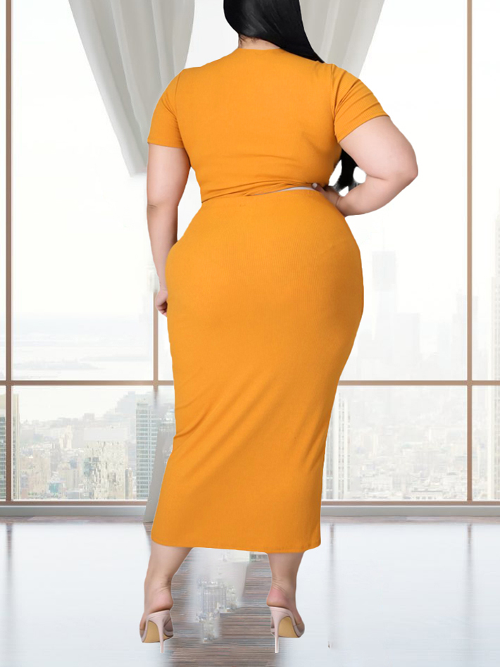 Lovely Plus Size Casual V Neck Bandage Design Orange Mid Calf Dress