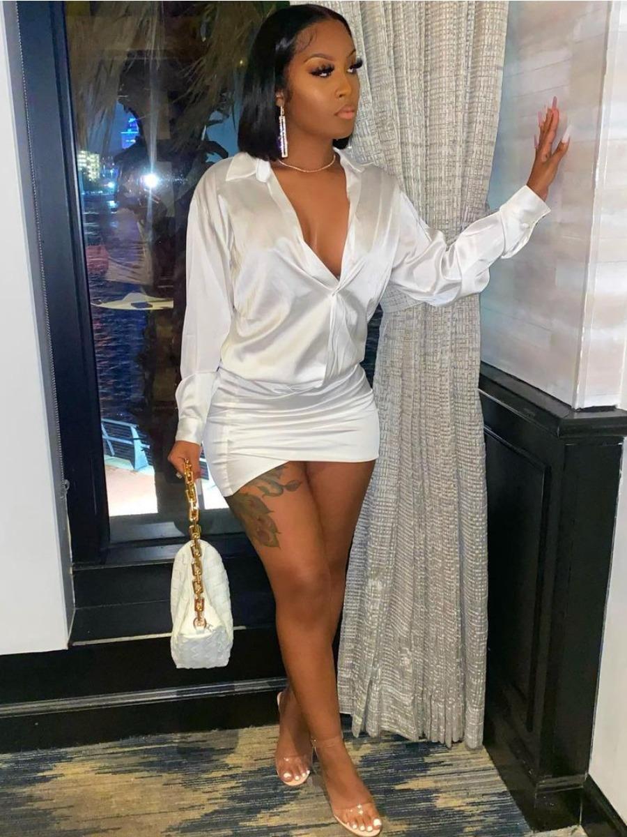 Lovely Street Turndown Collar Loose White Mini Shirt Dress