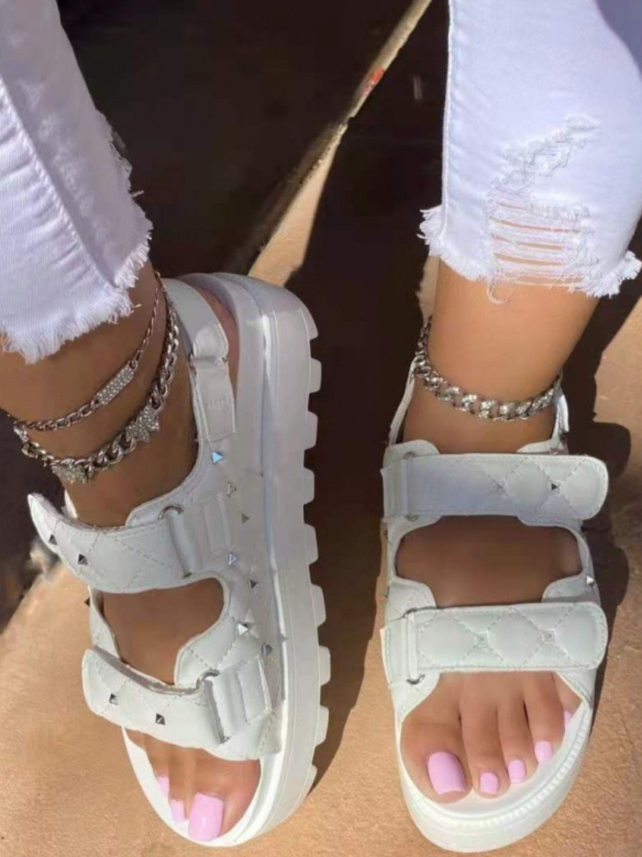 Lovely Casual Velcro White Platform Shoes
