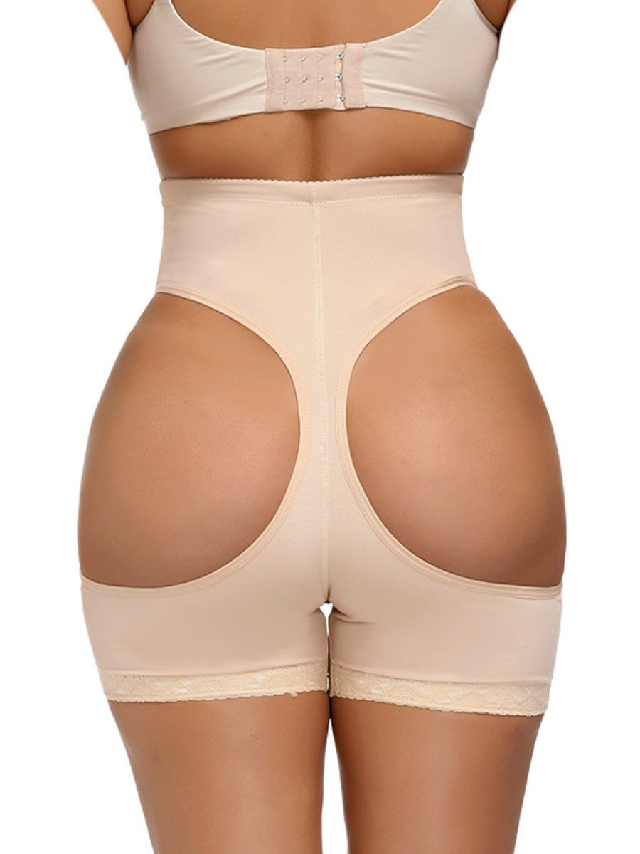 Lovely Casual High-waisted Hollow-out Skin Color Corset