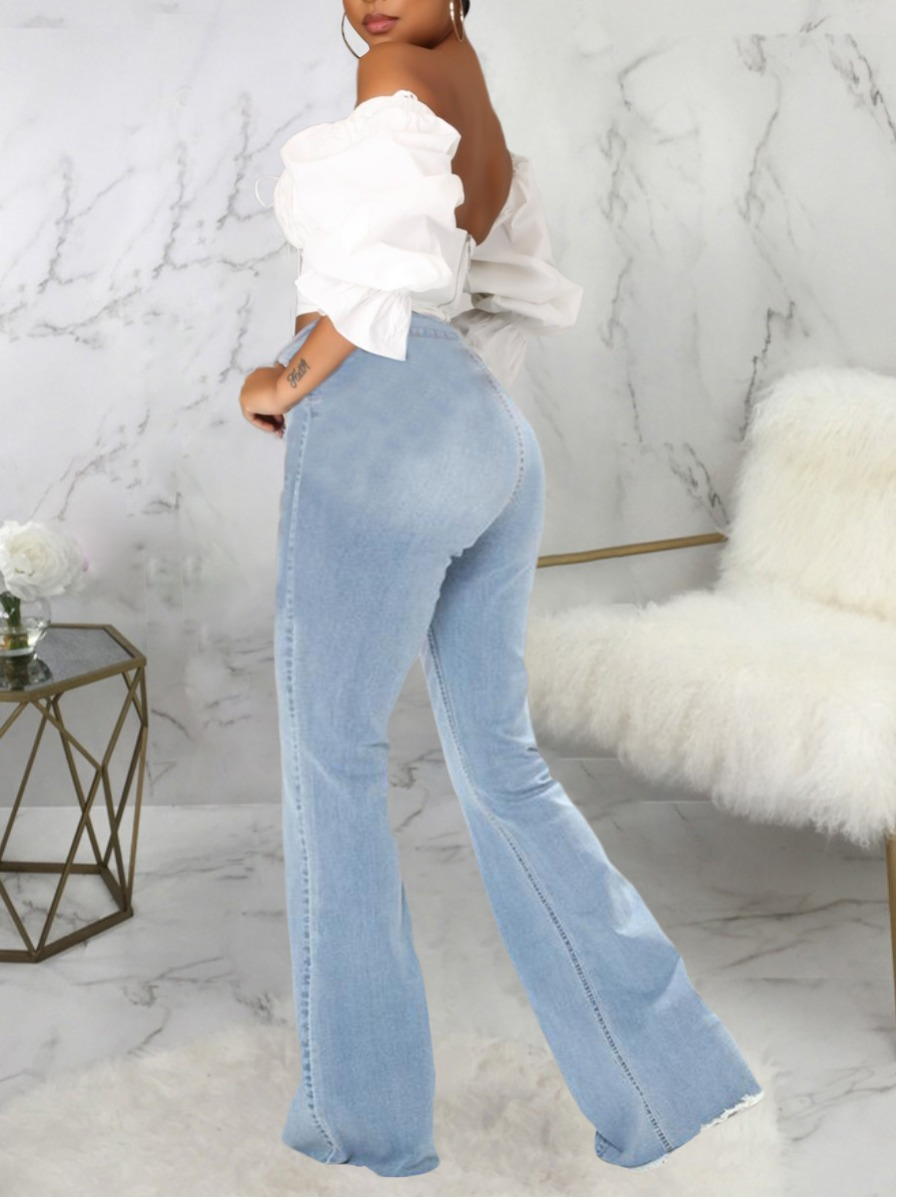 LW Casual High-waisted Flared Baby Blue Jeans