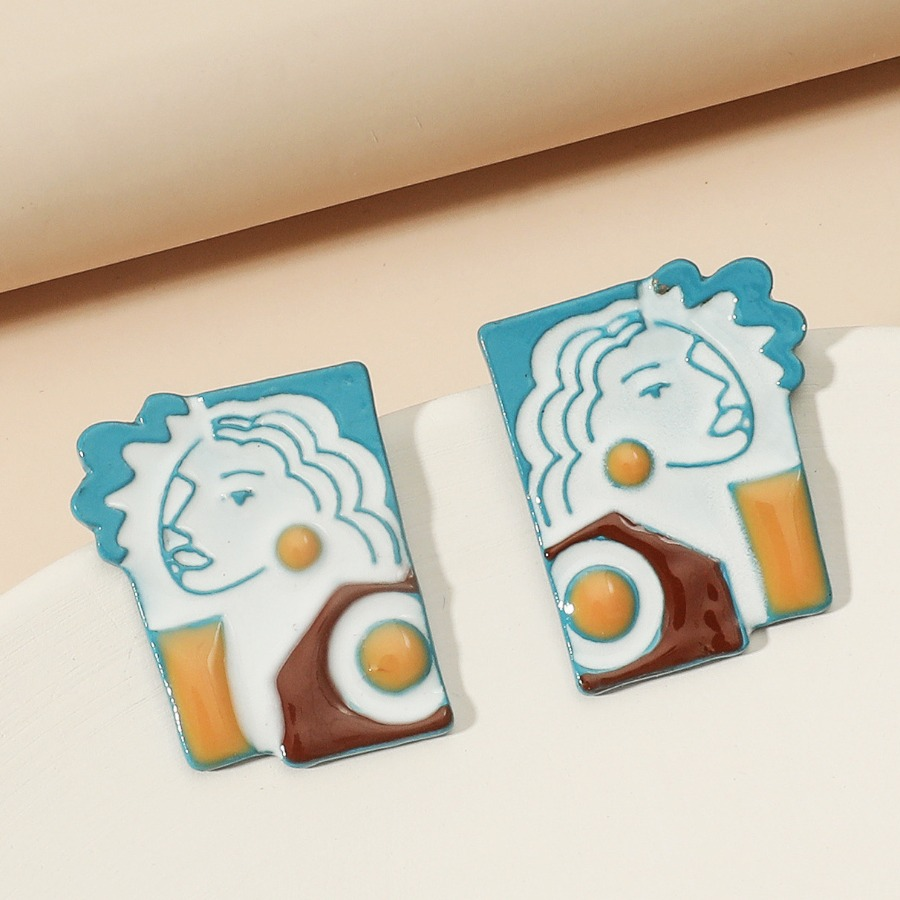 Lovely Casual Figure Decoration Blue Earring