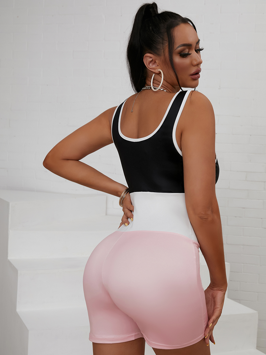 Lovely Sporty U Neck Color-lump Pink One-piece Romper