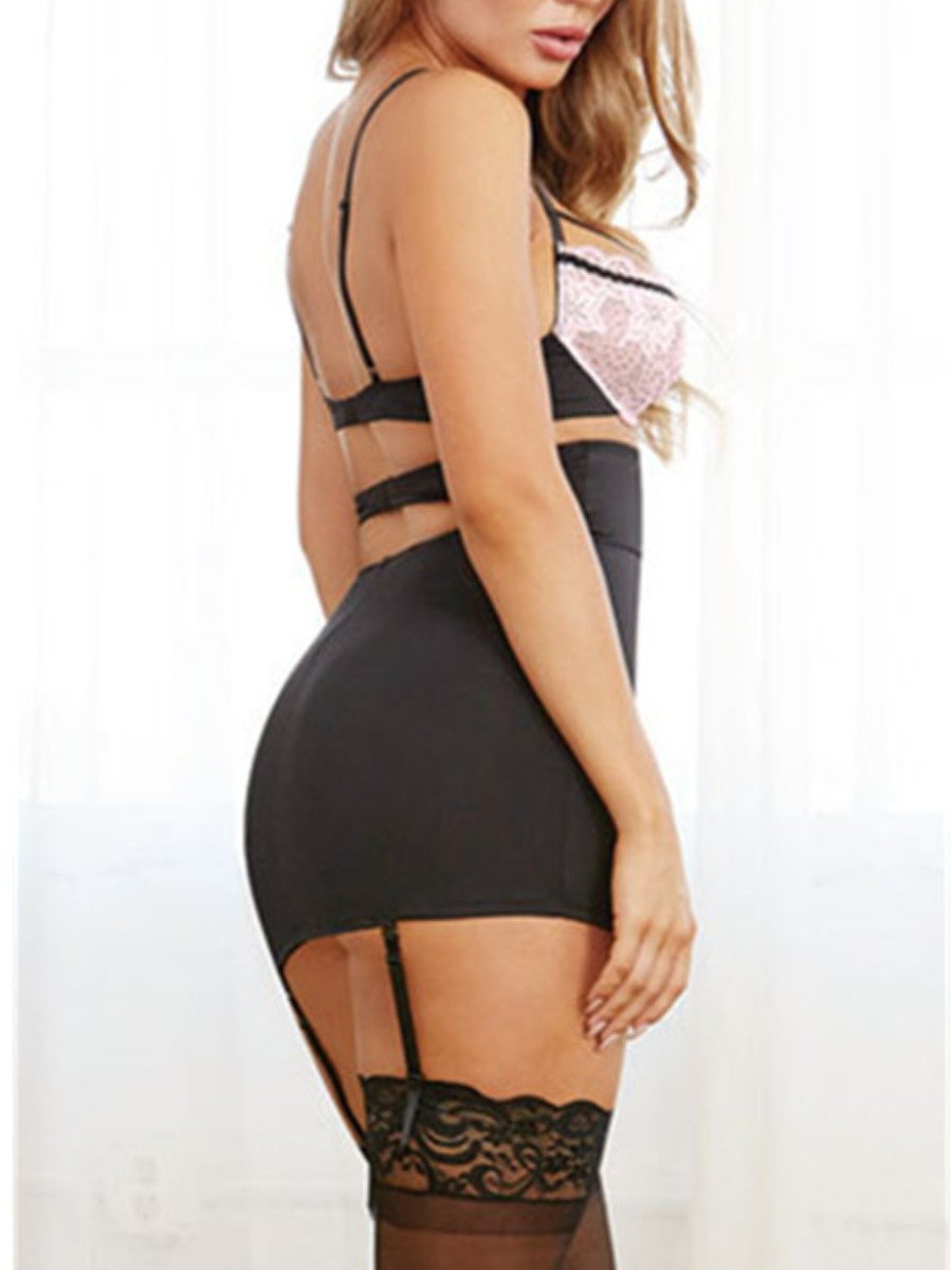 Lovely Sexy Floral Decoration Hollow-out Black Babydoll