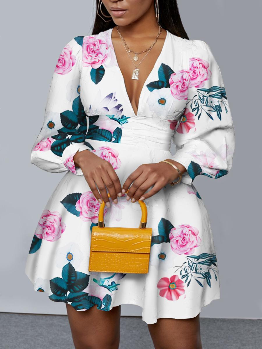 LW Sweet Floral Print Flounce Design White Mini Dress