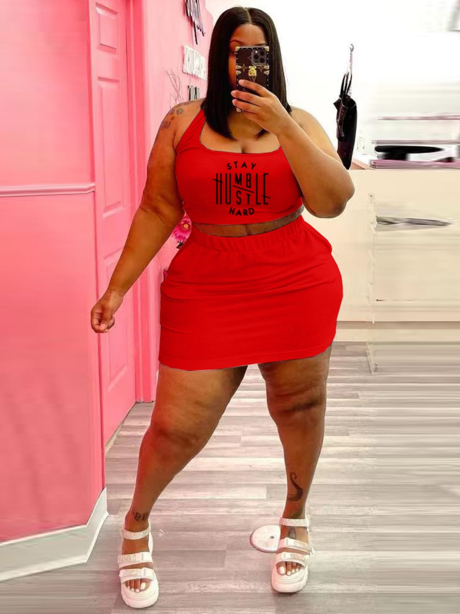Lovely Plus Size Casual U Neck Letter Print Red Two-piece Shorts Set