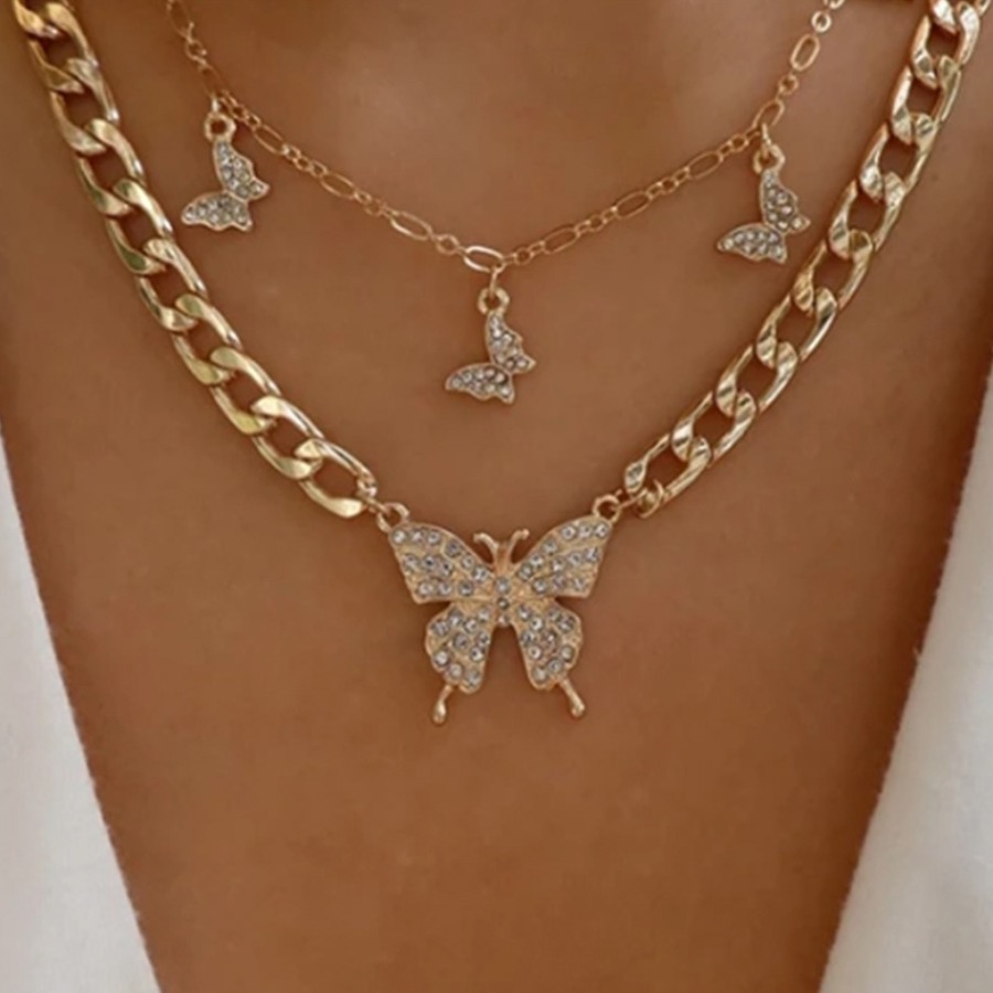 LW Casual Butterfly Decoration Hollow-out Gold Double-layer Necklace