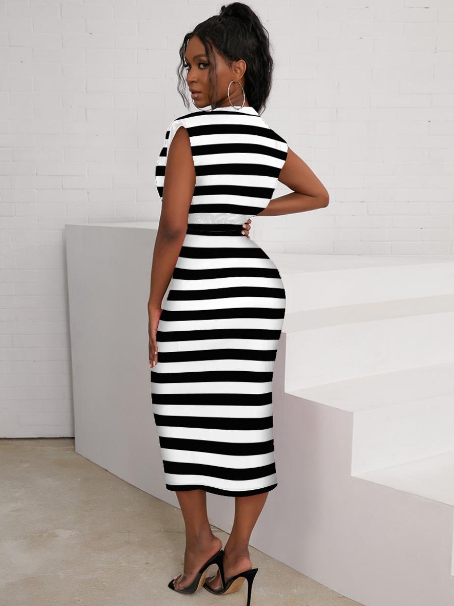 Lovely Round Neck Striped Bodycon Dress