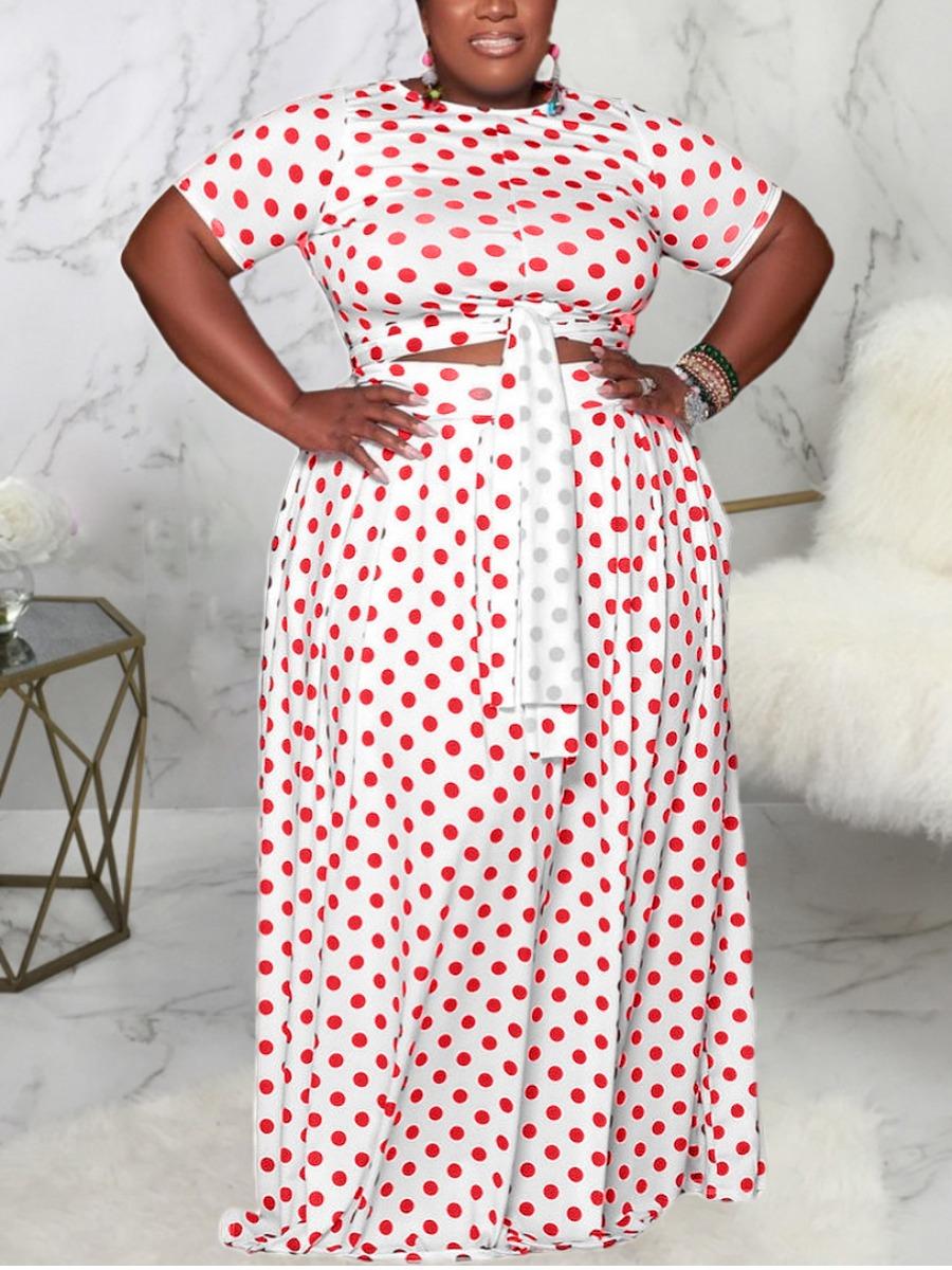 Lovely Plus Size Polka Dot Bandage Two-piece Skirt Set