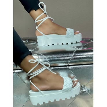 Lovelywholesale coupon: LW Street Tie Leg High Sole White Platform Shoes