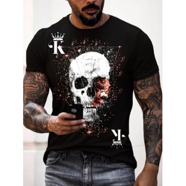 LW Men Skull Head Crown Letter Print T-shirt