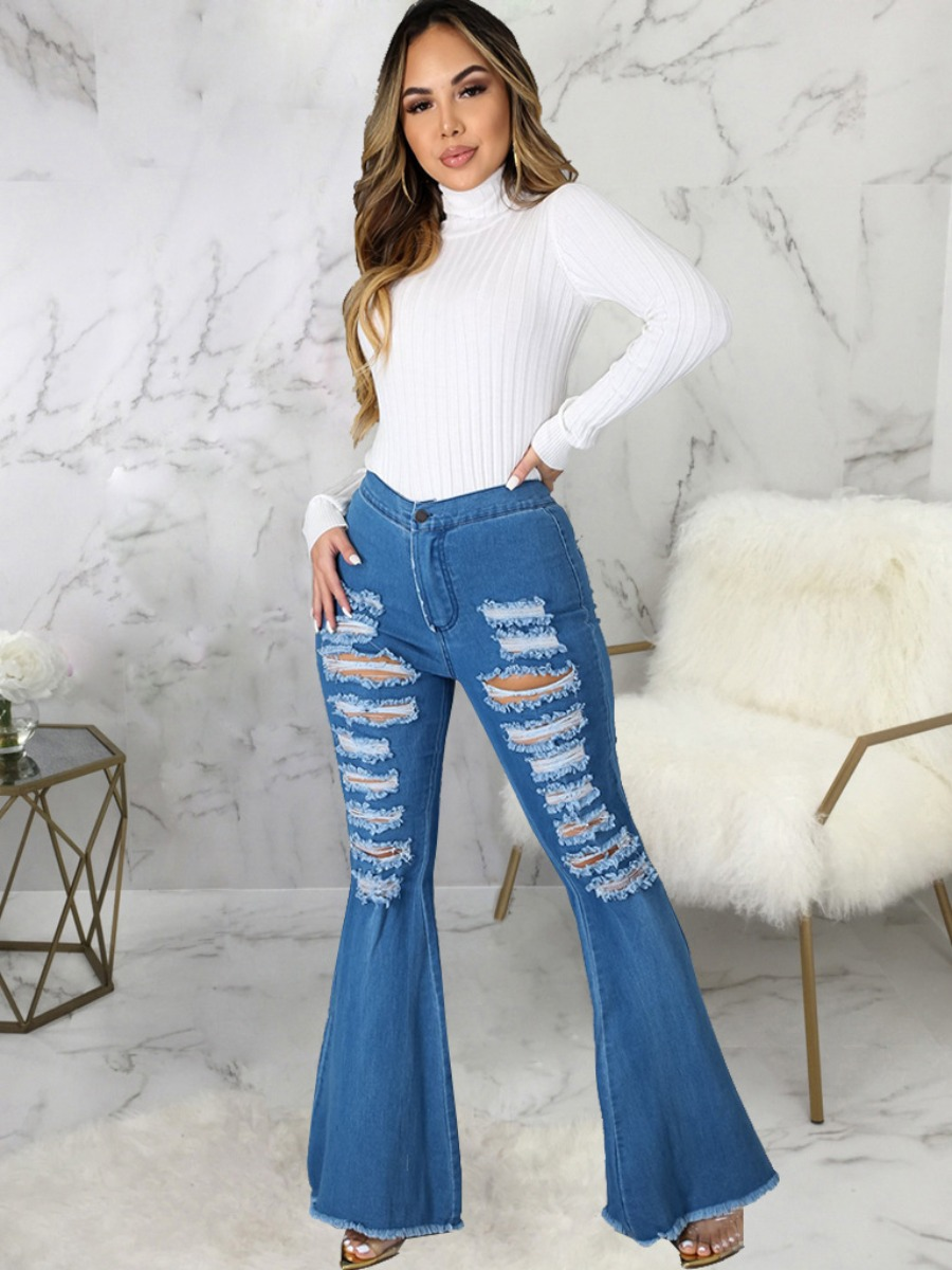 LW Ripped Flared Raw Edge Jeans