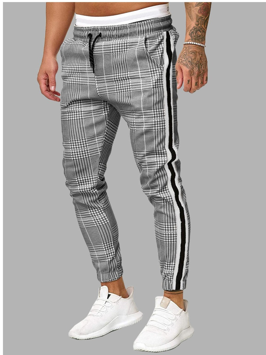 Lovely Men Plaid Print Striped Pants, lovely, Pants/Capris  - buy with discount