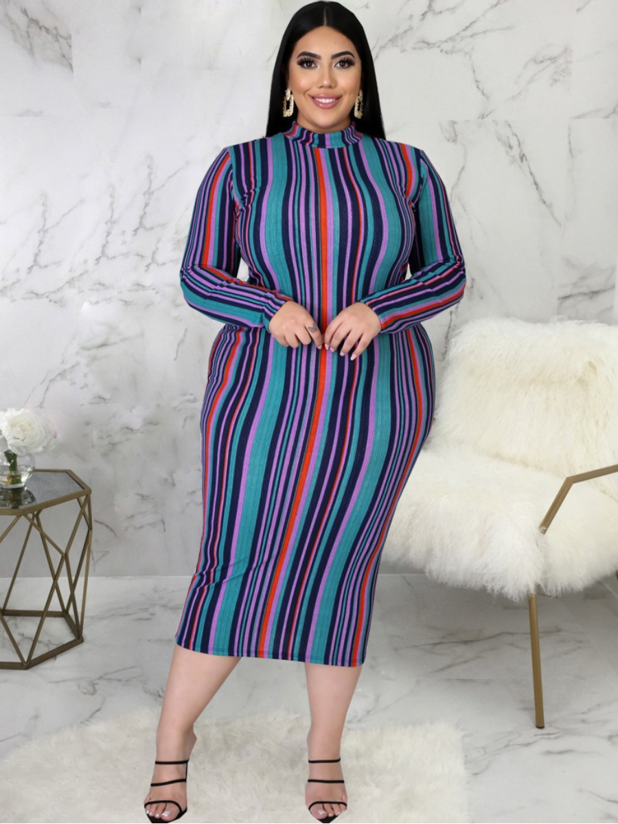 LW Plus Size Half A Turtleneck Striped Dress