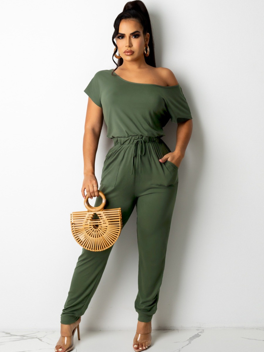 LW Boat Neck Drawstring One-piece Jumpsuit