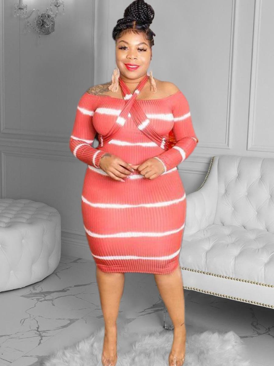 LW Plus Size Rib-Knit Striped Dress