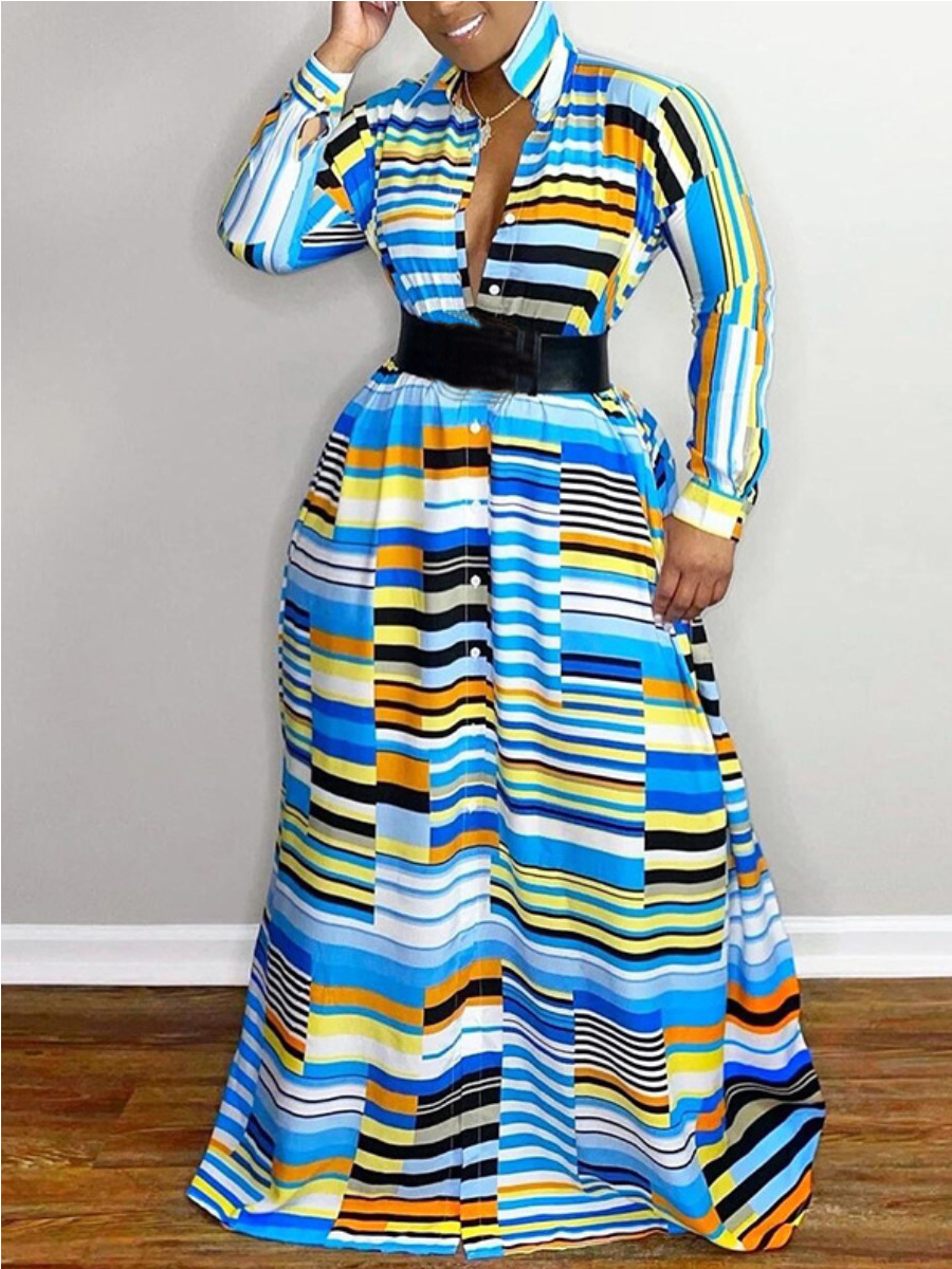 LW Plus Size Striped Patchwork A Line Dress (Without Belt)