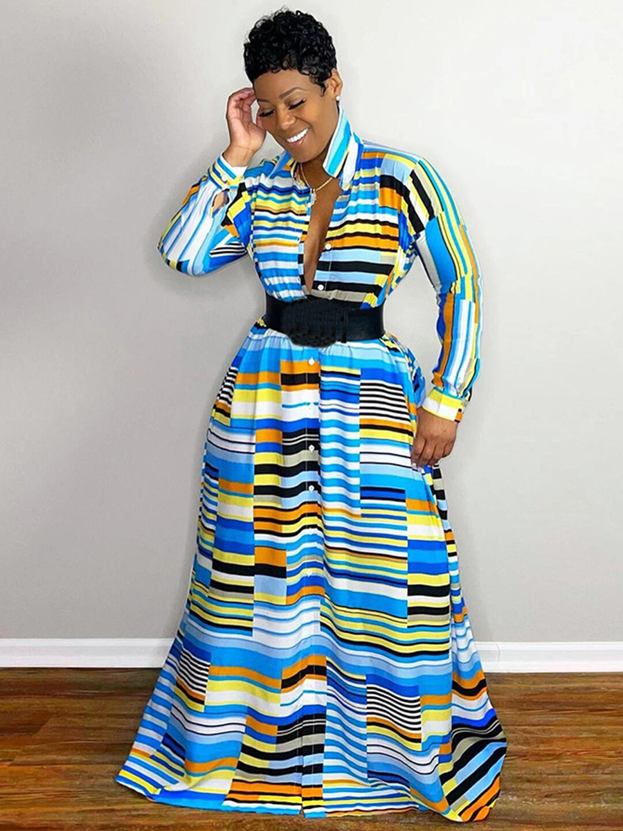 Lovely Striped Patchwork A Line Dress (Without Belt)