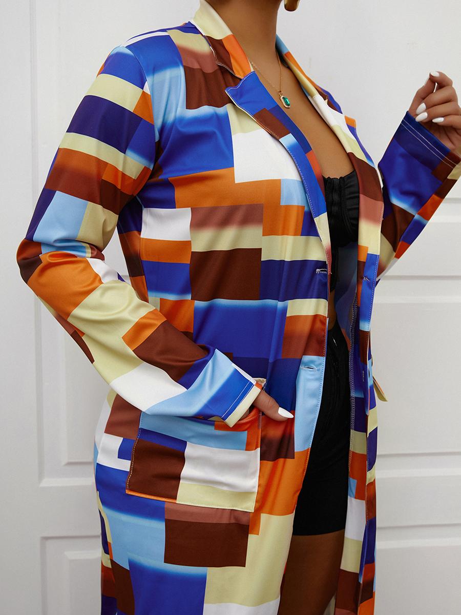 LW COTTON Plaid Print Patchwork Trench Coat