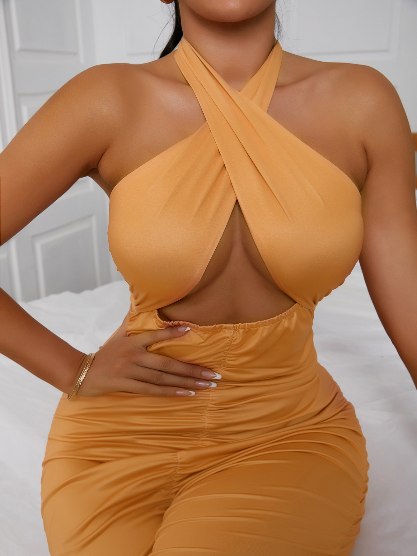 Lovely Backless Bandage Hollow-out Design One-piece Jumpsuit