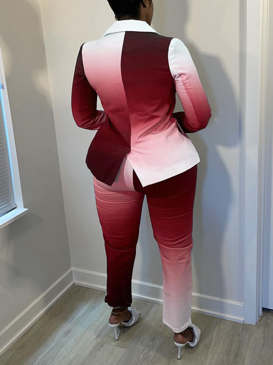 LW Plus Size Gradient Button Design Two-piece Pants Set
