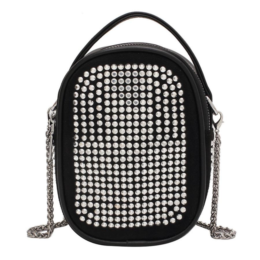 LW Chain Strap Bead Decoration Crossbody Bag