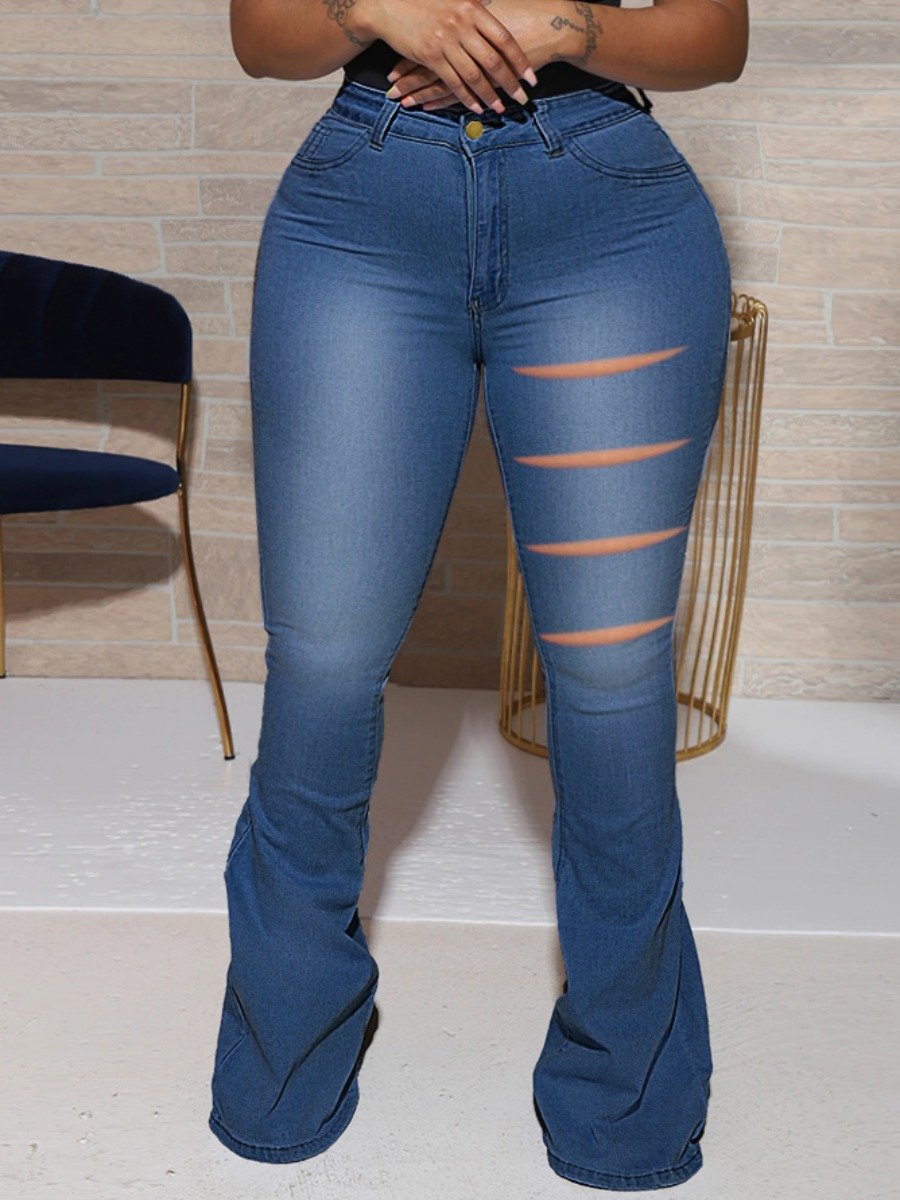 LW Plus Size Ripped Flared High-waisted Jeans