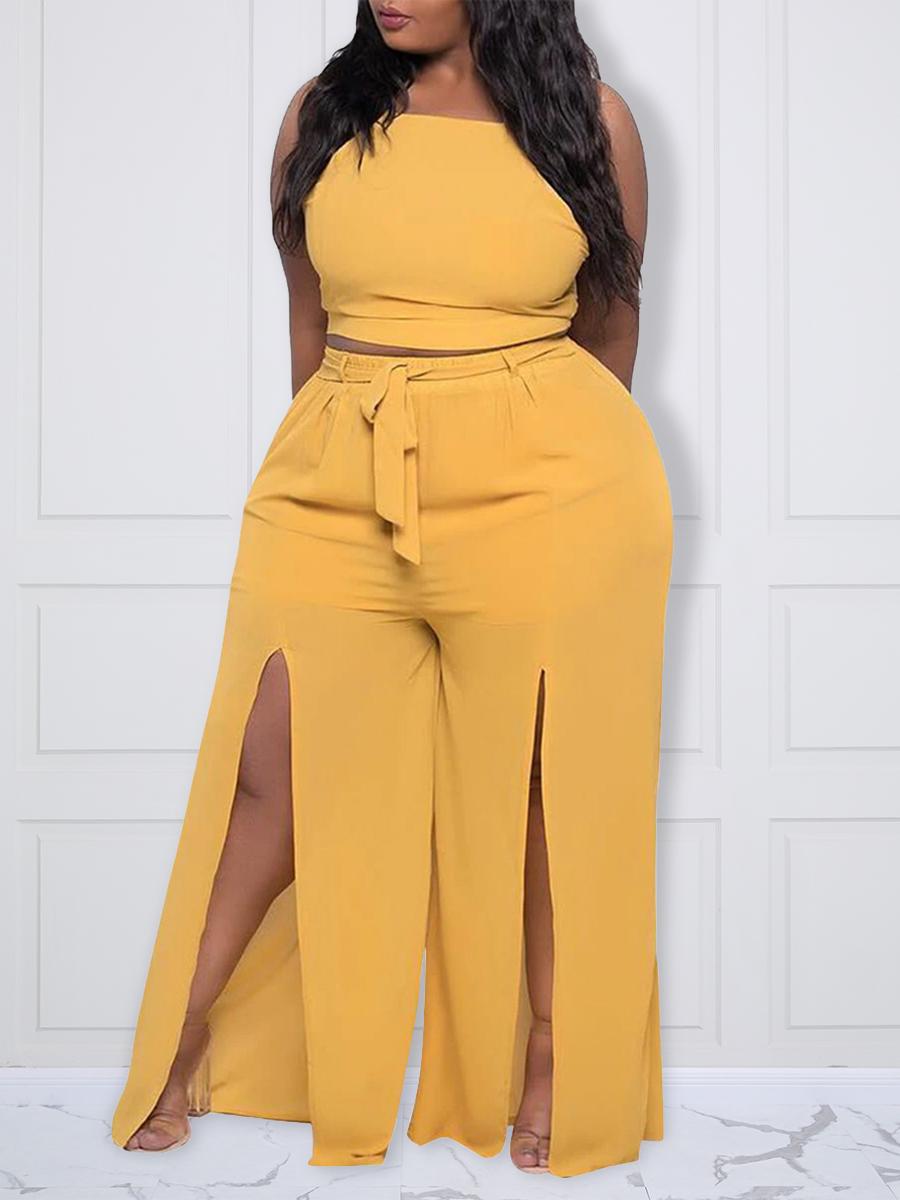 LW Plus Size Backless Bandage Design Slit Pants Set