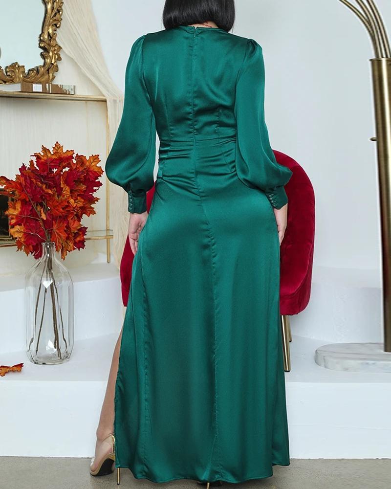 Lovely V Neck Wrap Split Prom Dress