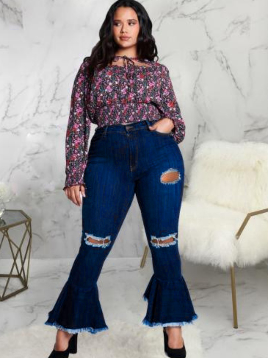 Lovely Plus Size Ripped Flared Raw Edge Jeans